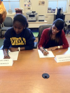 Nijae Jones and Camille Watson sign letters of intent for UCB and CSU Northridge.