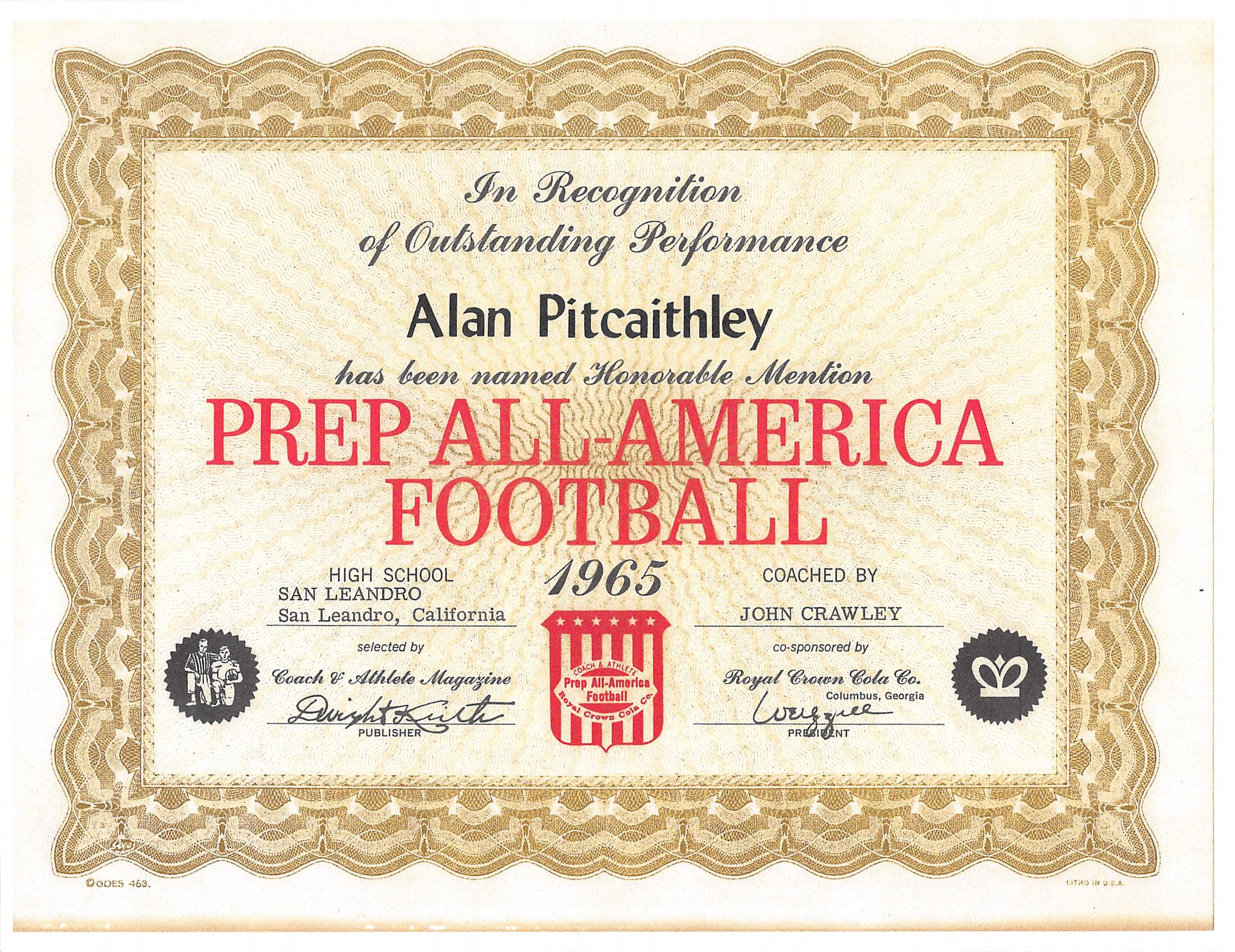Al Pitcaithhley Prep All-American