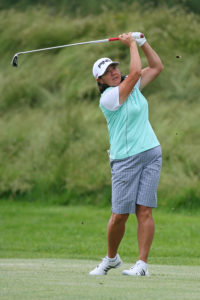GALLOWAY, NJ - JUNE 1: Pat Hurst hits her second shot on the third hole during the first round of the ShopRite LPGA Classic on the Bay Course at Seaview Resort on June 1, 2012 in Galloway, New Jersey. (Photo by Hunter Martin/Getty Images)